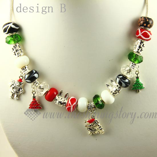 Christmas charms necklaces with crystal murano glass beads